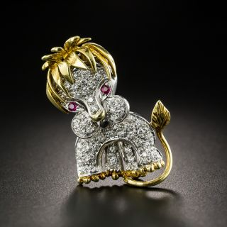 French Mid-Century Diamond and Ruby Lion Cub Brooch - 2