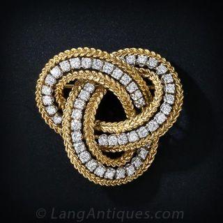 French Mid-Century Diamond Love-Knot Brooch