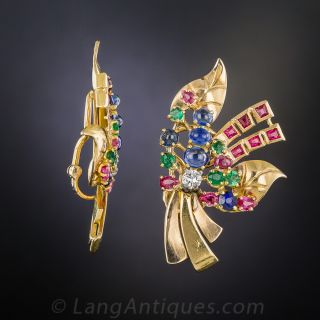 French Mid-Century Multi-Color Ear Clips