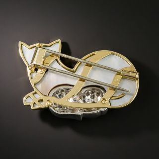 French Mother-Of-Pearl Diamond Cat Brooch