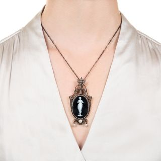 French Neoclassic Hardstone Cameo Pendant