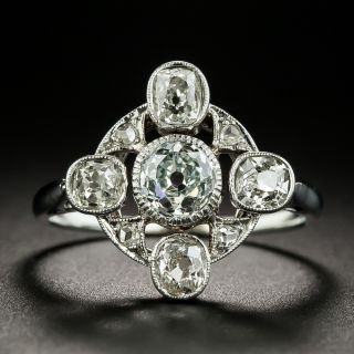 French Natural Light Green Old Mine-Cut Diamond Ring - GIA  - 1