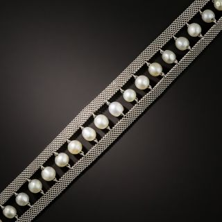 French Pearl and Platinum Mesh Bracelet - 2