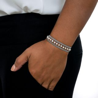 French Pearl and Platinum Mesh Bracelet