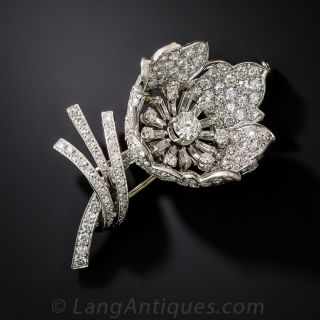 French Platinum and Diamond Flower Brooch - 1