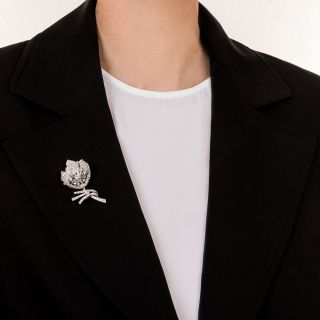 French Platinum and Diamond Flower Brooch