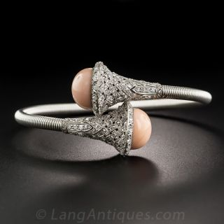 French Platinum Coral and Diamond Springy Bangle Bracelet - 1
