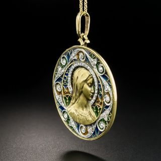 French Plique a Jour and Diamond Virgin Mary Medallion
