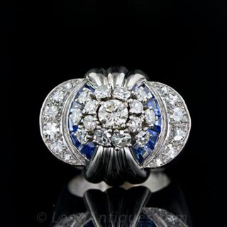 French Retro Diamond and Sapphire Cocktail Ring
