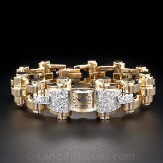 French Retro Diamond Gold Watch