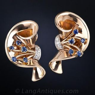 French Retro Sapphire and Diamond Earrings