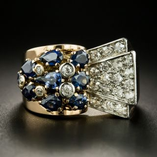 French Retro Sapphire and Diamond Ring - 2