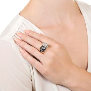 French Retro Sapphire and Diamond Ring