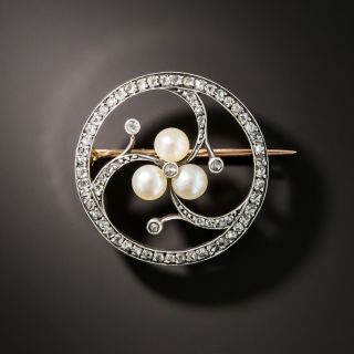 French Rose-Cut Diamond and Natural Pearl Brooch - 2