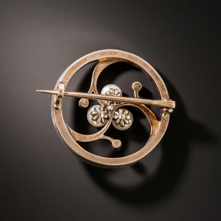 French Rose-Cut Diamond and Natural Pearl Brooch