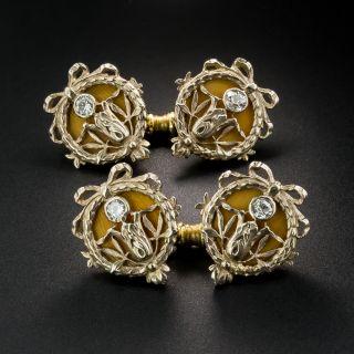 French/Russian Art Nouveau Enameled Diamond Cufflinks - 2
