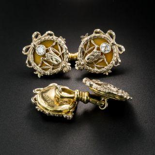 French/Russian Art Nouveau Enameled Diamond Cufflinks