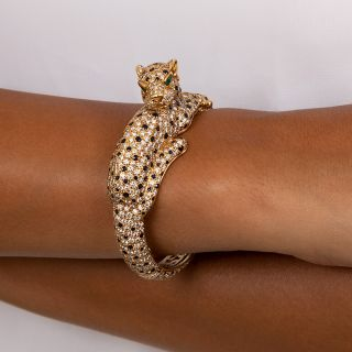 French Sapphire and Diamond Panther Bracelet