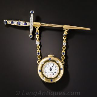 French Sapphire and Diamond Pendant Watch by Henry Capt