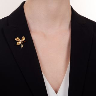 French Three-Leaf Clover with Pearl and Ruby Pendant/Brooch