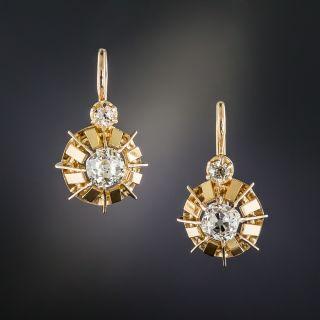 French Vintage Rose Gold Diamond Earrings - 1