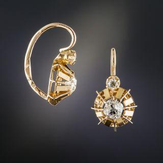 French Vintage Rose Gold Diamond Earrings