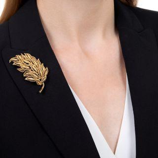 French Vintage Tiffany & Co. Leaf Brooch