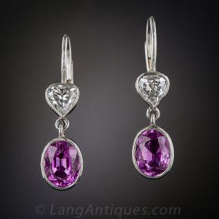 Fuchsia Sapphires and Diamond Drop Earrings