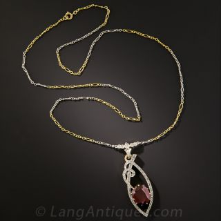 Garnet and Diamond Drop Necklace