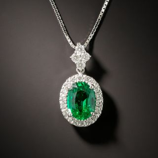 Gem 1.11 Carat Oval Emerald and Diamond Halo Necklace - No Clarity Enhancement - 2
