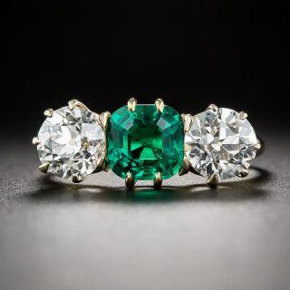 Gem 1.30 Carat Colombian Emerald and Diamond Ring - 2