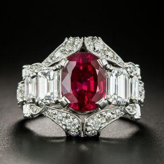 'Gem' 3.23 Carat Ceylon Ruby and Diamond Ring - AGL  - 2
