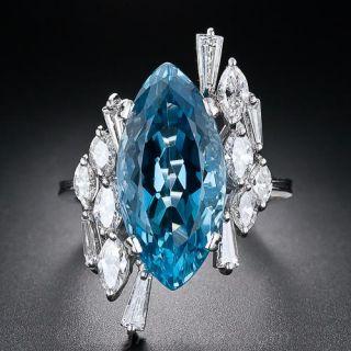 Gem Aquamarine and Diamond Ring