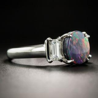 Gem Black Opal and Diamond Ring
