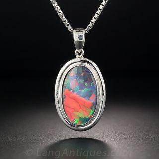 Gem Black Opal and Platinum Pendant