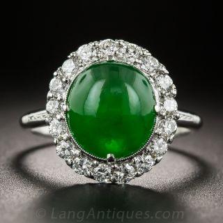 Gemmy Natural Jade Platinum and Diamond Ring - 1