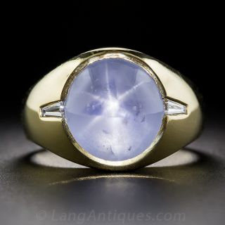 Gent's 14 Carat Star Sapphire 18k Gold and Diamond Ring - 1