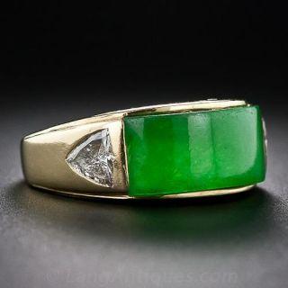 Gent's 18K Jadeite and Diamond Ring