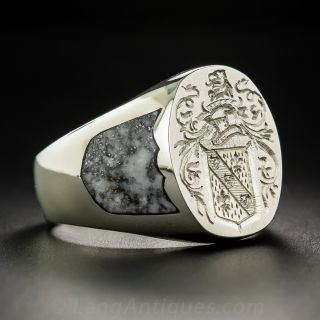 Gent's 18K White Gold Coat of Arms Signet Ring by Rampant Lion - 2