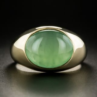 Gent's Mid-Century Burmese Jade Cabochon Ring - 2