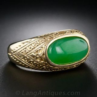 Gent's Natural-Color Jade Ring