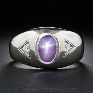 Gent's Purple Star Sapphire and Diamond Ring