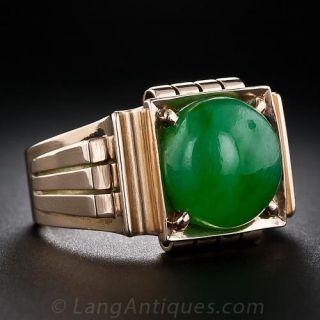 Gent's Retro Jade Ring