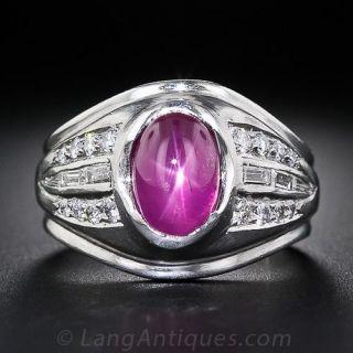 Gent's Star Ruby, Platinum and Diamond Ring