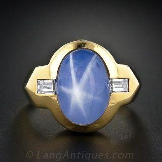 Gent's Star Sapphire and Diamond Ring - 2