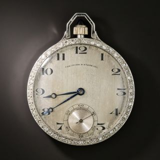 Gent's Theodoore B. Starr Open Face Platinum Pocket Watch - 2