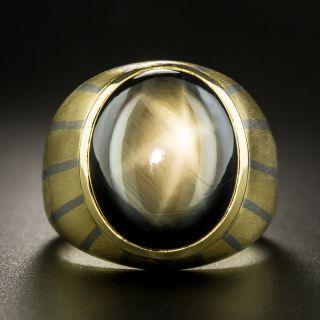 Gents Black Star Sapphire Two-Tone Striped Ring - 3