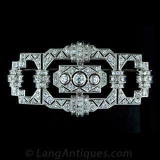 Geometric Art Deco Diamond Pin Main View