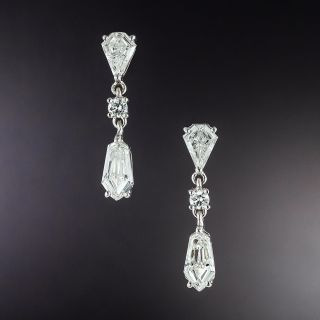 Geometric Diamond Dangle Earrings - 1