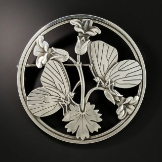 Georg Jensen Butterfly and Floral Brooch